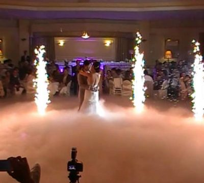 Fire-sparklers and Dry ice at wedding